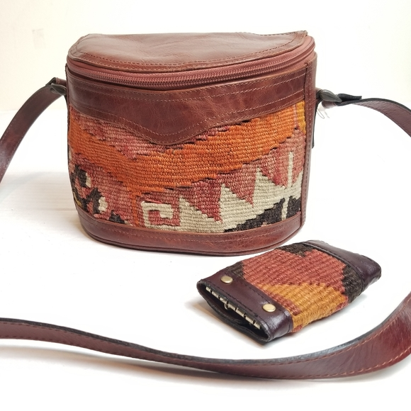 Rare! Vtg 70s Leather &Wool Handmade Turkish Purse
